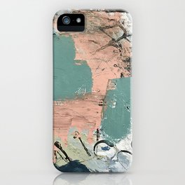 13th and Grant: an abstract mixed media piece in peach green blue and white iPhone Case