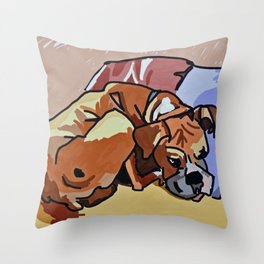 Abby Rests Boxer Dog Portrait Throw Pillow