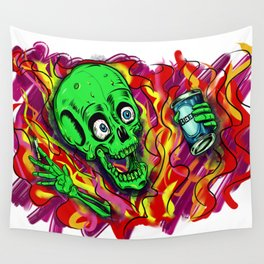 Psyco Party Skeleton  Wall Tapestry