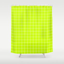 Electric lime - green color - White Lines Grid Pattern Shower Curtain