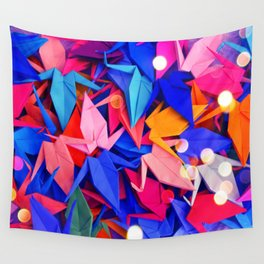 Senbazuru | pink and blues Wall Tapestry