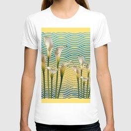 WHITE CALLA LILIES BLUE-YELLOW WATER ART T-shirt