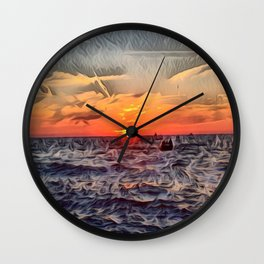 Lake Michigan Romantic Sunset Wall Clock