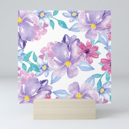 Lavender pink teal watercolor modern floral Mini Art Print