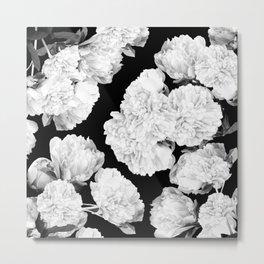 White Peony Flowers Black Background #decor #society6 #buyart Metal Print