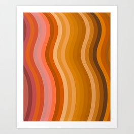 Groovy Wavy Lines in Retro 70s Colors Art Print