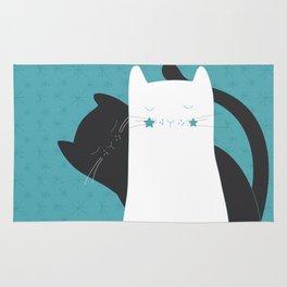 Black White Cats Rug