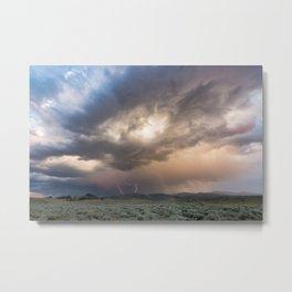 Yellowstone National Park - Sunset storm over the Washburn Range Metal Print