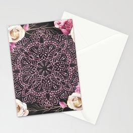 Mandala Night Rose Gold Garden Pink Black Yellow Stationery Cards