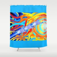 ducks Shower Curtains featuring liquid ducks by JT Digital Art