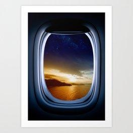 Airplane window with Milky Way, porthole #2 Art Print