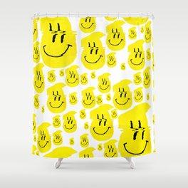 Smiley Glitch Shower Curtain