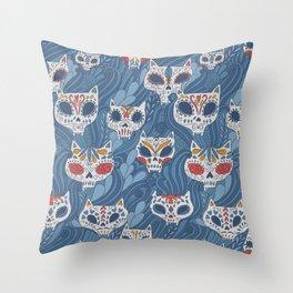 Calavera Cats Throw Pillow