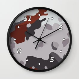 Abstract large camouflage art. Black, grey and maroon. Wall Clock