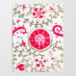 Whimsical Wildflower Red II // 19th Century Colorful Fuchsia Green Ornate Watercolor Pattern Poster