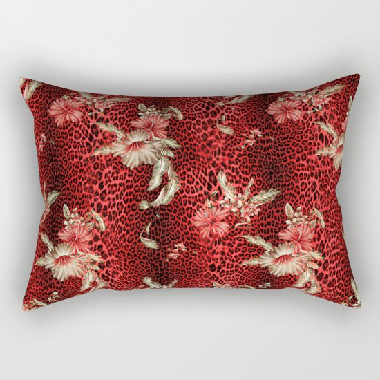 Wild Red Leopard and Flowers Rectangular Pillow