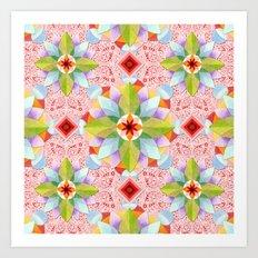 Pink Paisley Flowers Art Print