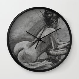 Charcoal drawing of a model with her hair up Wall Clock