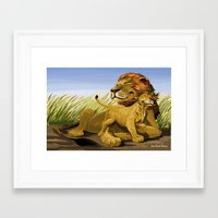 lions Framed Art Prints featuring Lions by Jason Bryant Parker