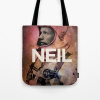 neil gaiman Tote Bags featuring Neil. by David