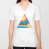 camping V-neck T-shirts featuring Camping by Wendy Ding