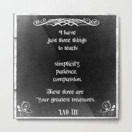 Chalkboard Design with Lao Tzu Inspirational Quote Metal Print