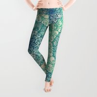 abstract art Leggings featuring Emerald Doodle by micklyn