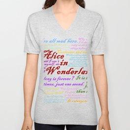 Alice in Wonderland Quotes Unisex V-Neck