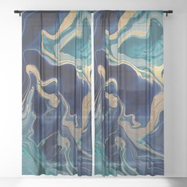 DRAMAQUEEN - GOLD INDIGO MARBLE Sheer Curtain