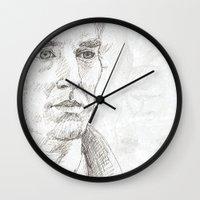 sherlock Wall Clocks featuring Sherlock by Amanda Powzukiewicz
