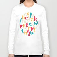 lettering Long Sleeve T-shirts featuring Lettering ABC by Sudjino