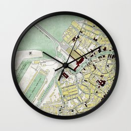 Vintage Venice historic map Italy retro travel design Wall Clock