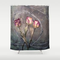 depression Shower Curtains featuring Trapped Roses by Maria Heyens