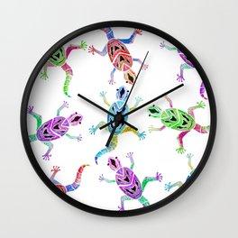 Gecko Blue YellowWatercolor Wall Clock