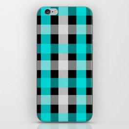blue black checks iPhone Skin