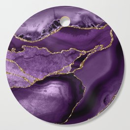 Glamour Purple Bohemian Watercolor Marble With Glitter Veins Cutting Board