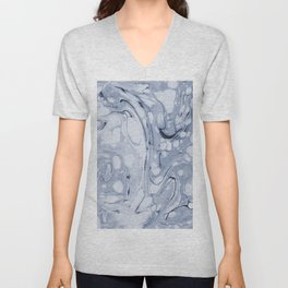 Powder blue water marble Unisex V-Neck