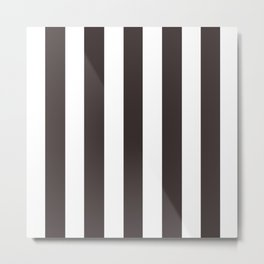 Black coffee - solid color - white vertical lines pattern Metal Print
