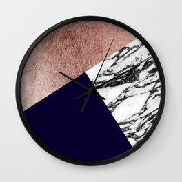 Modern Marble Rose Gold and Navy Blue Tricut Geo Wall Clock