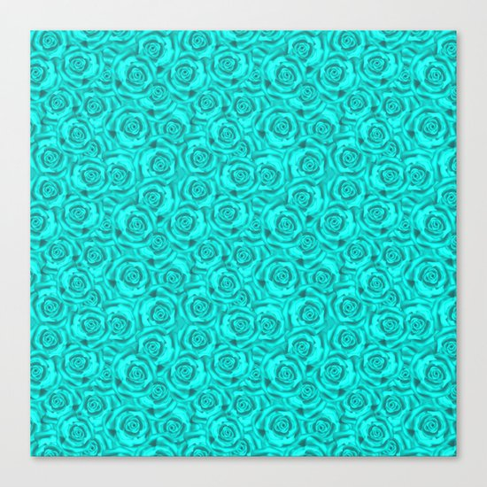 Roses . Neon turquoise . Canvas Print