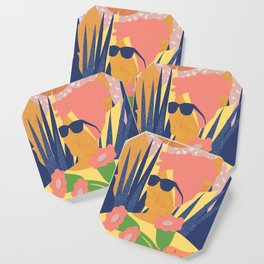Summer with flower of a turban girl Coaster