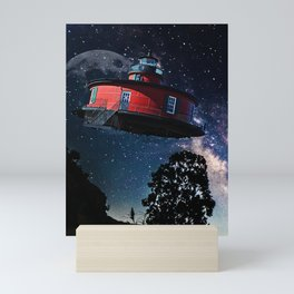 Retro Flying Saucer, UFO, Extraterrestrial Craft, Red Mini Art Print