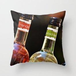 France Germany Spain Bottles of Wine Throw Pillow