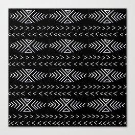 mudcloth 4 minimal textured black and white pattern home decor minimalist Canvas Print