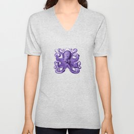 Octopus1 (Purple, Square) Unisex V-Neck