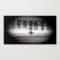 surfboard Canvas Prints featuring Red Surfboard by Derek Fleener