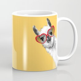 Fashion Hipster Llama with Glasses Coffee Mug