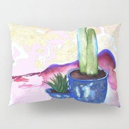 Porch Cactus Vibes - Watercolor Painting Mixed Media Pillow Sham