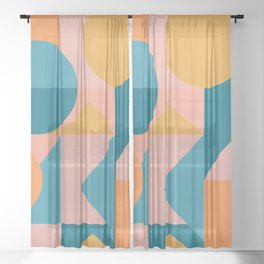 Colorful Geometric Abstraction in Blue and Orange Sheer Curtain