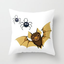 Cute bat and spiders illustration Throw Pillow